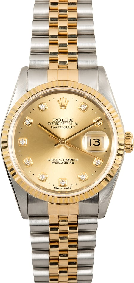 Rolex Diamond Dial Datejust 16233 Two-Tone