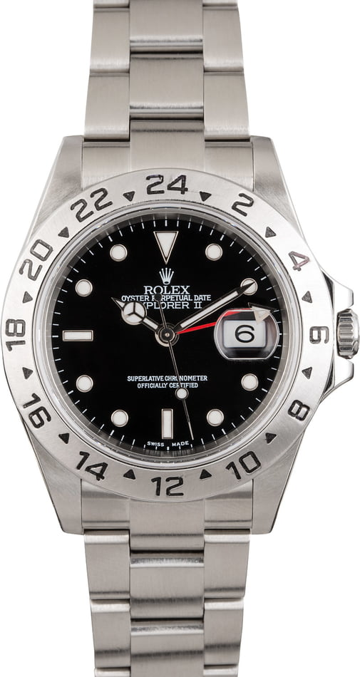Rolex Explorer II Stainless Steel 16570 Black Dial