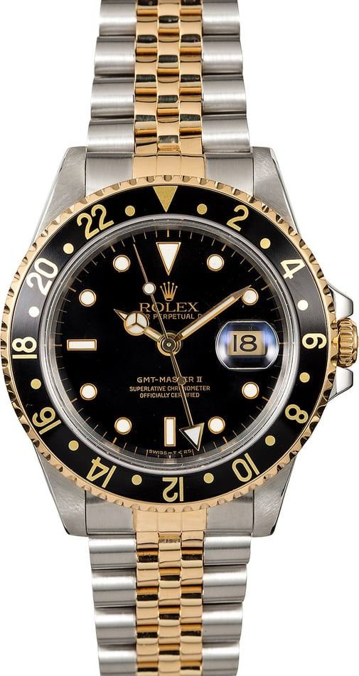 Pre-Owned Rolex GMT-Master II Ref. 16713 Black Dial