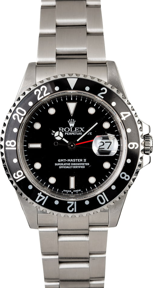 Men's Rolex 16710 GMT Master II Black Dial