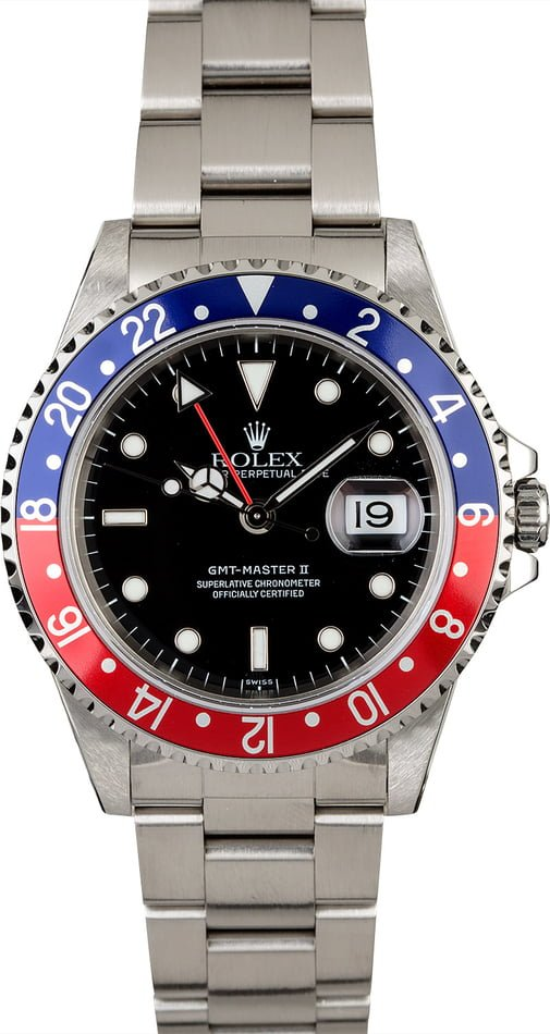 Certified Rolex GMT-Master II Ref 16710 with Pepsi Insert