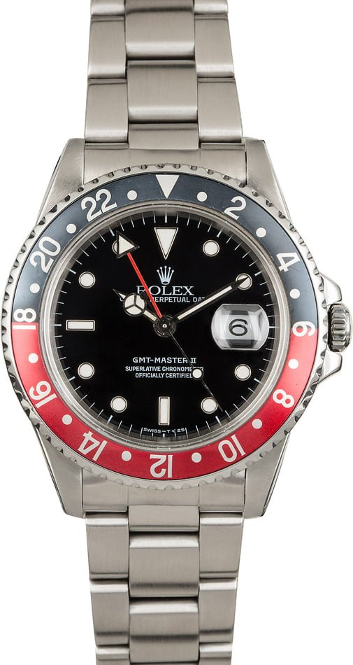 PreOwned Rolex GMT Master II Ref 16710 'Coke' Insert