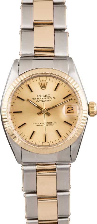 Mid-Size Rolex Datejust 6827 Champagne Index Dial