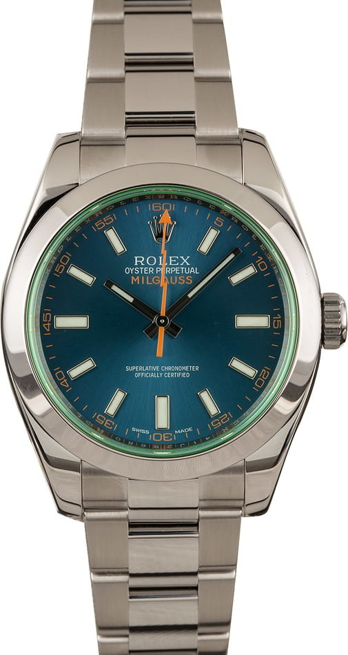 Pre-Owned Rolex Milgauss 116400GV Green Crystal T