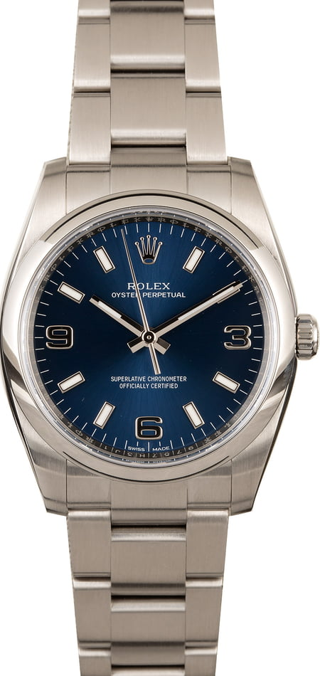 Men's Rolex Oyster Perpetual 114200 Blue Dial