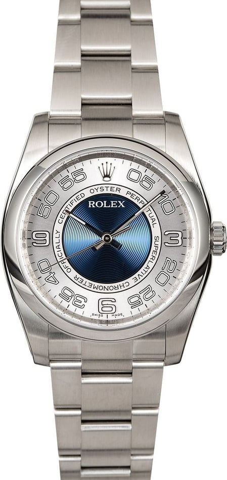 Certified Rolex Oyster Perpetual 116000 Concentric Blue Dial