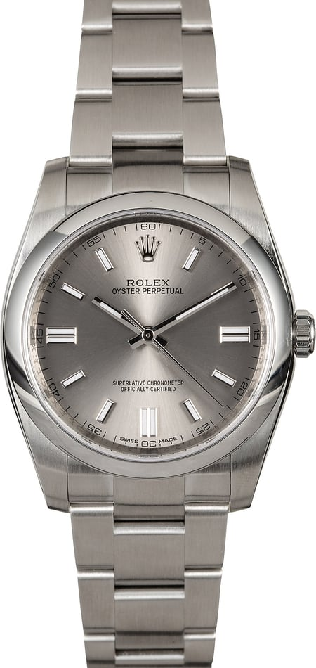 Certified Rolex Oyster Perpetual 116000 Steel Dial