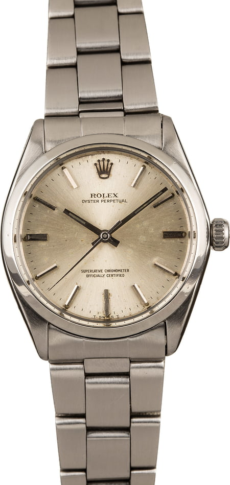 Pre-Owned Rolex Oyster Perpetual 1002 Silver Index Dial