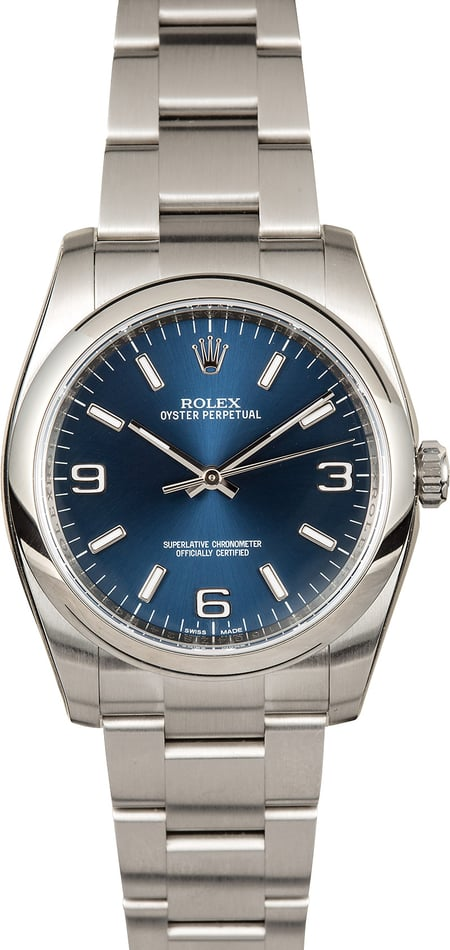 Rolex Oyster Perpetual 116000 Blue Luminous Dial