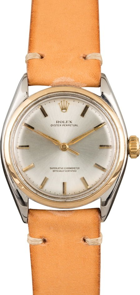 Pre-Owned Rolex Oyster Perpetual 6085 Silver Dial Index t Markers