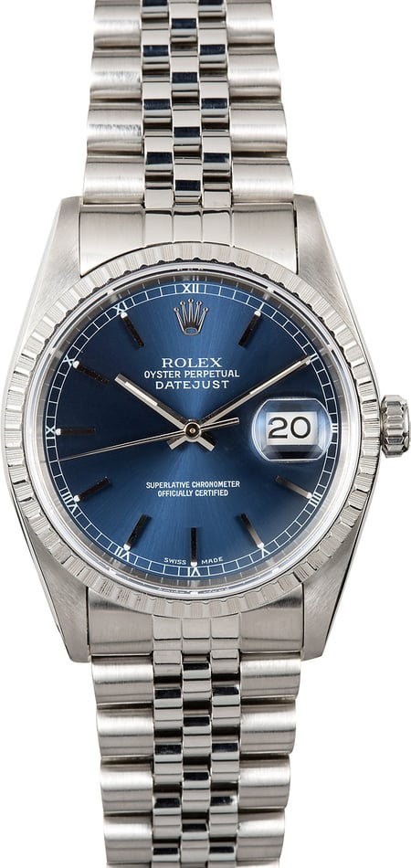 Rolex Oyster Perpetual Datejust 16220 Blue Index