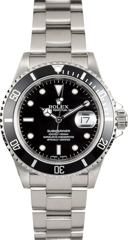 Rolex Oyster Steel Submariner 16610T Black