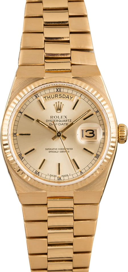 Used Rolex OysterQuartz Day-Date 19018 Champagne Index