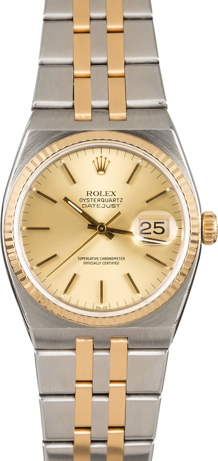 PreOwned Rolex Oysterquartz Datejust 17013 Two Tone Integral