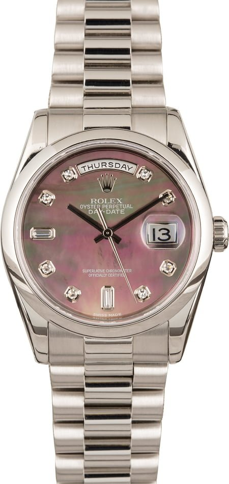 Pre Owned Rolex Platinum Day Date 118206 Black Diamond MOP