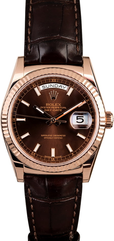 Rolex Day-Date 118135 Everose Gold w/ Leather