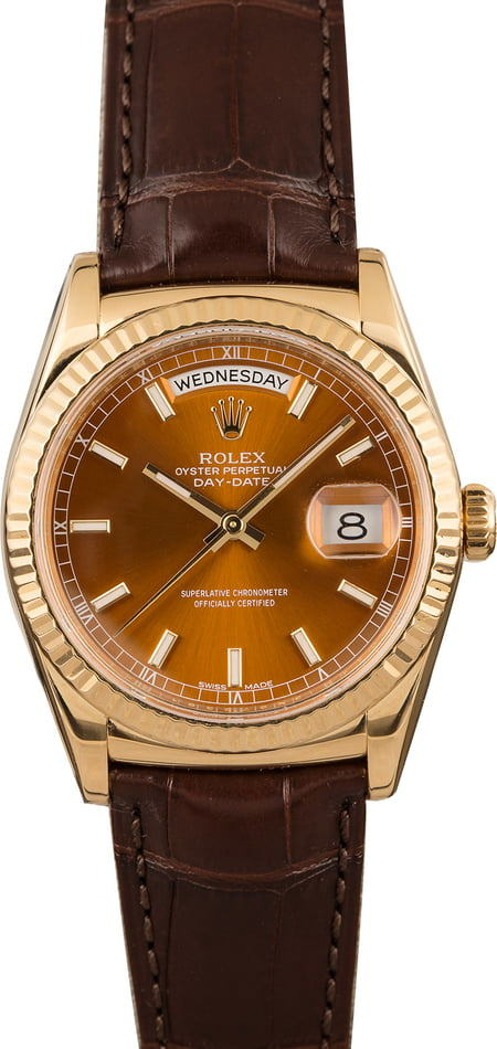Pre Owned Rolex Day-Date 118138 Cognac Dial