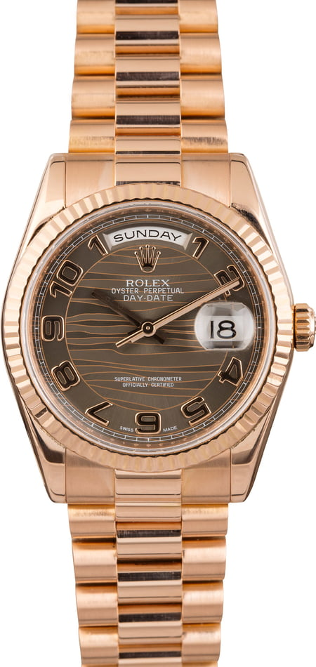 Rolex President 118235 Bronze Wave Dial