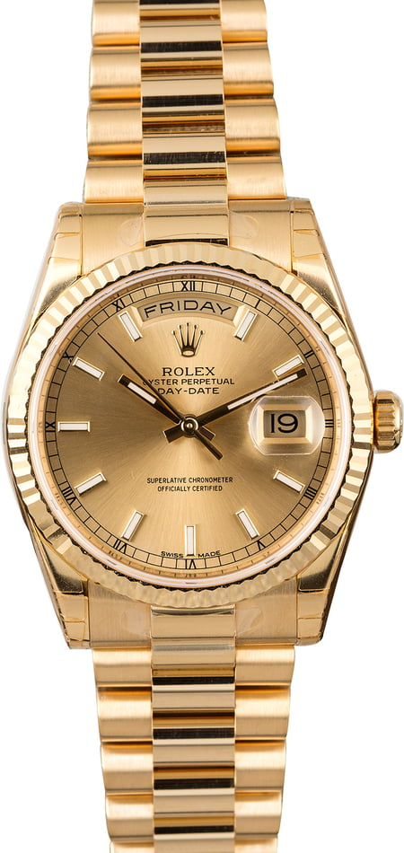 Unworn Rolex Day-Date 118238 Yellow Gold President