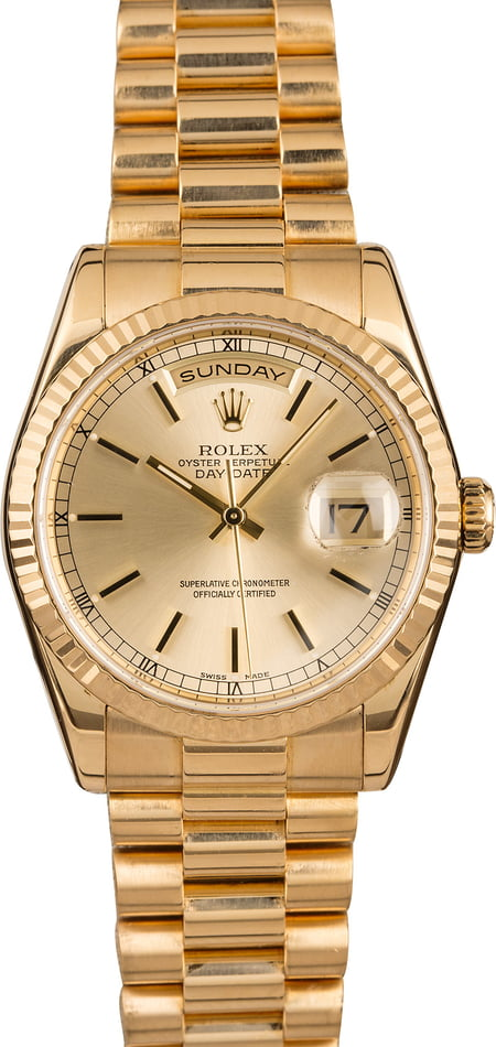 Pre Owned Rolex Day Date President 118238 Champagne Dial