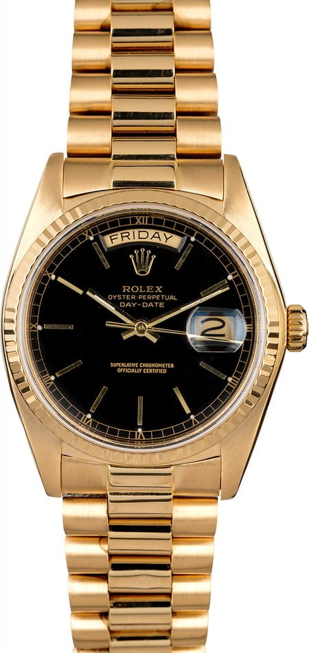 Rolex Day-Date 18038 President Black Dial