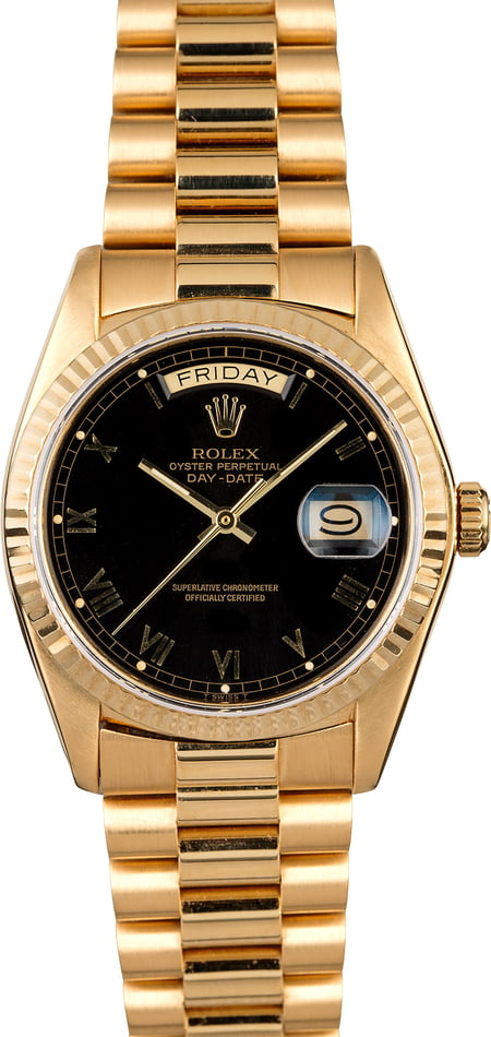 Rolex Day-Date 18038 Black Roman Dial President