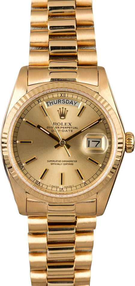 Rolex President 18038 Champagne Index Dial