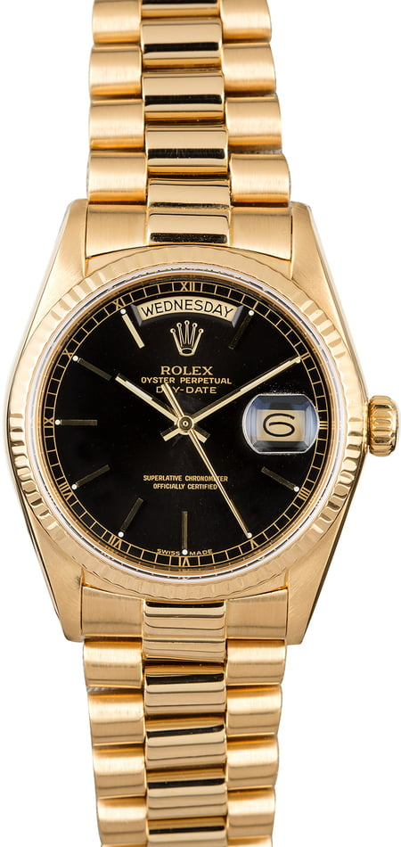 Certified Rolex President 18038 Black Dial