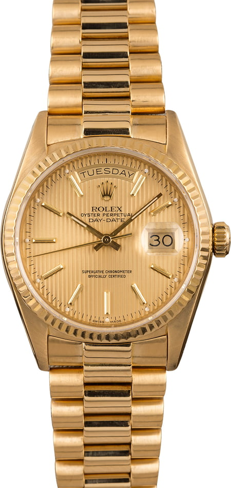 Pre-Owned Rolex President 18038 Champagne Tapestry Dial