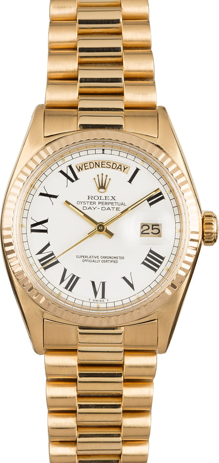Used Rolex President 1810 White Roman Buckley Dial