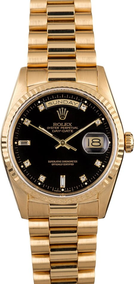 Rolex President 18238 Black Diamond Dial