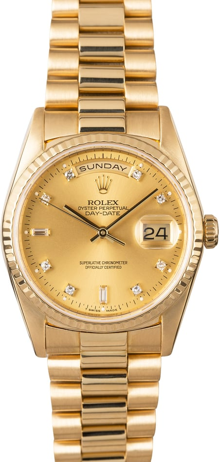 Certified Rolex President 18238 Champagne Diamond Dial