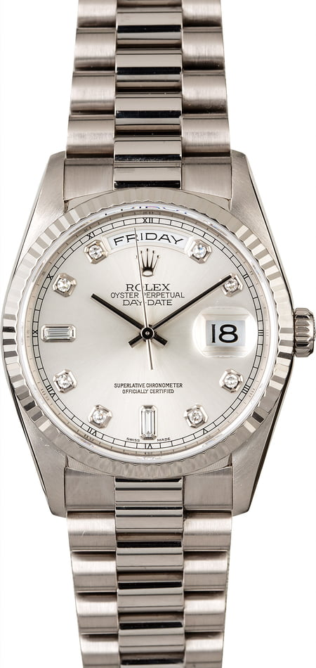 Rolex President 18239 White Gold with Diamond Dial