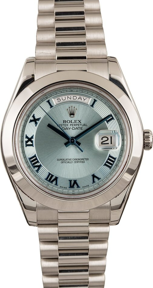 Pre Owned Rolex Platinum Day-Date II President 218206