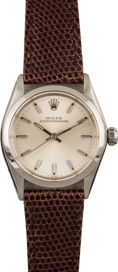 Vintage Rolex SpeedKing Model 6430 Brown Leather Strap