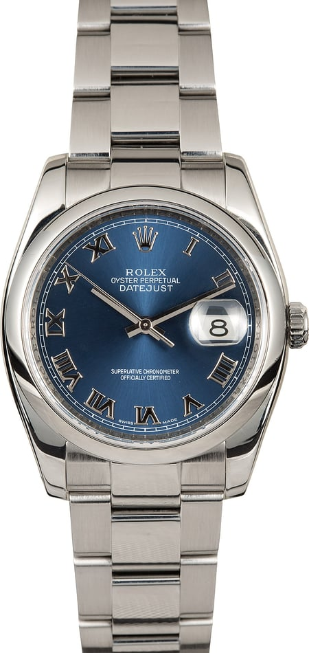 Rolex Stainless Datejust 116200 Blue Roman
