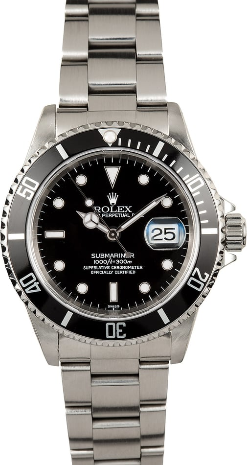 Rolex Stainless Steel Submariner 16610 100% Authentic