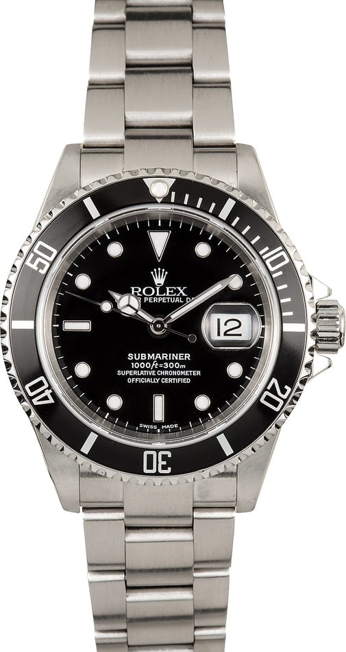 Rolex Stainless Steel Submariner 16610 No Holes