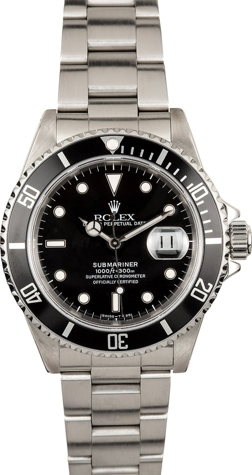 Rolex Stainless Submariner 16610 100% Authentic