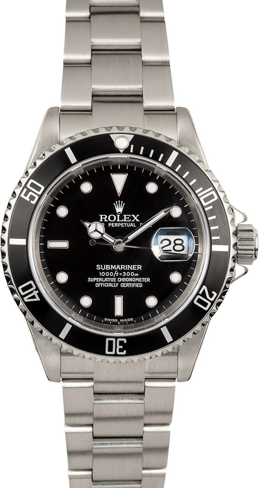 Rolex Stainless Submariner 16610 No Holes