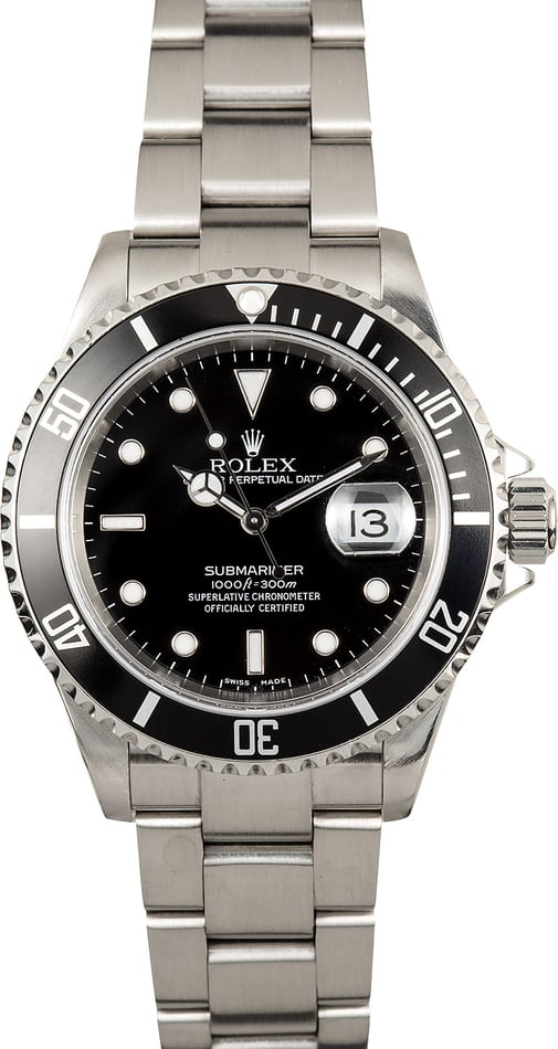 Rolex Steel Submariner 16610 No Holes Case