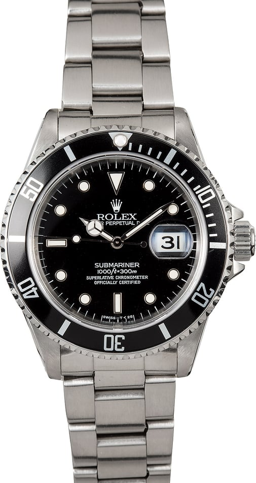 Certified Rolex Submariner 16610 Oyster Perpetual Date