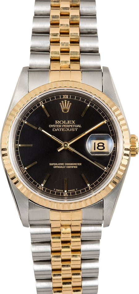 Rolex Steel and Gold Datejust 16233 Black Dial