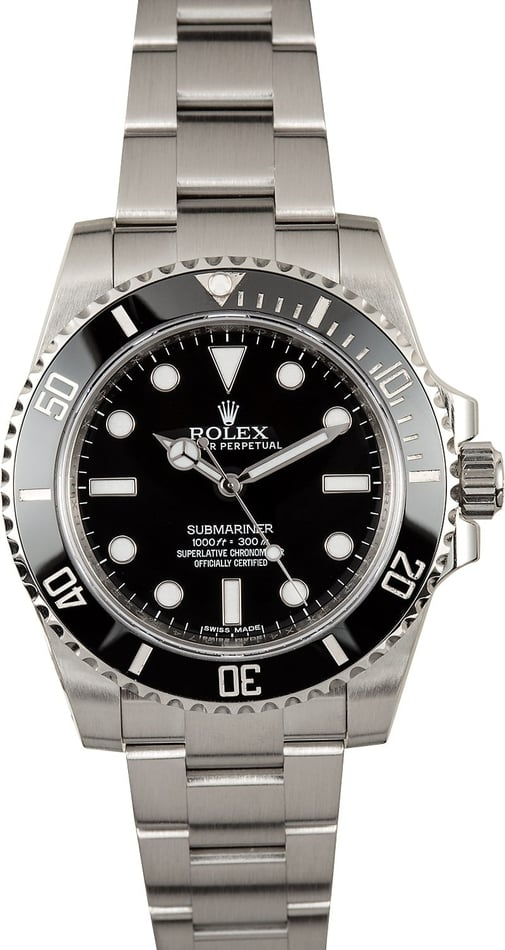 Rolex Submariner 114060 Ceramic Bezel 100% Authentic