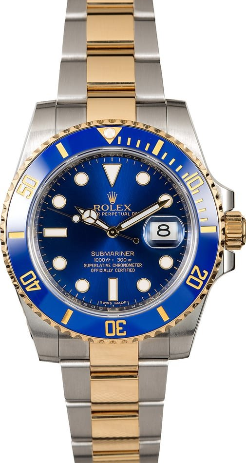 Rolex Submariner 116613 Two Tone with Sunburst Blue Dial