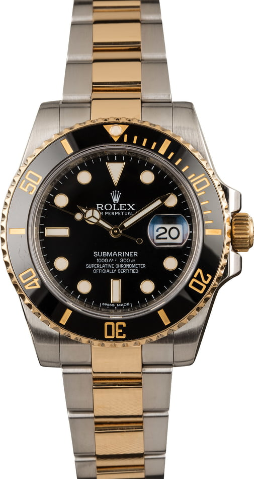 Pre-Owned Mens Rolex Ceramic Submariner 116613 Two Tone