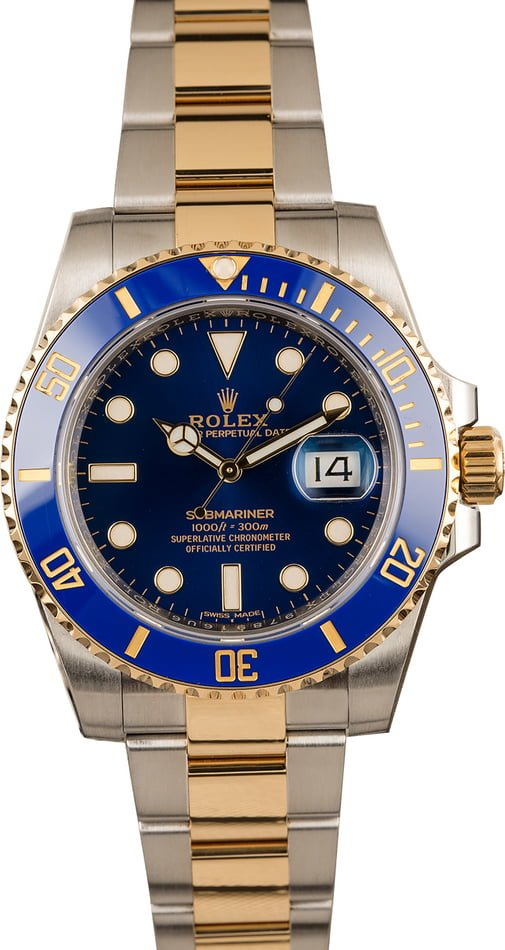 Used Rolex Submariner 116613 Two Tone with Sunburst Blue