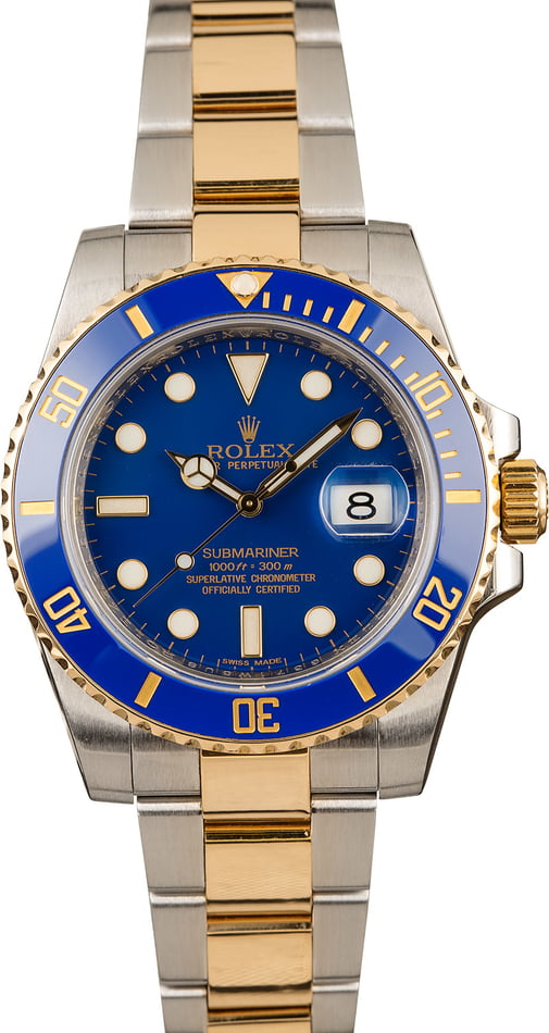 Certified Rolex Submariner 116613 Matte Blue Dial