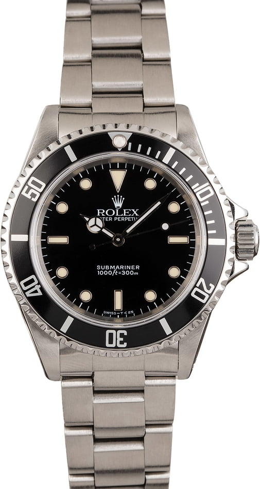 PreOwned Rolex Steel Submariner 14060 Black Bezel