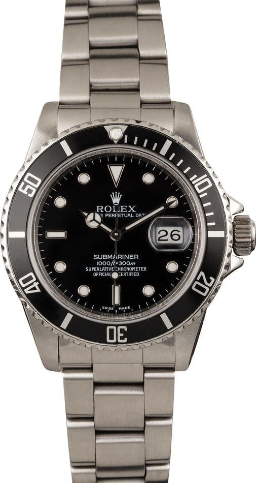 Pre-owned Rolex Submariner 14060 Black Dial Stainless Steel